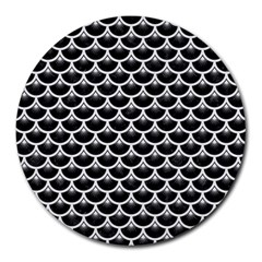 Scales3 Black Marble & White Linen (r) Round Mousepads by trendistuff
