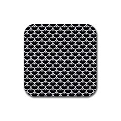 Scales3 Black Marble & White Linen (r) Rubber Square Coaster (4 Pack)  by trendistuff