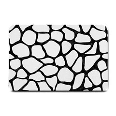 Skin1 Black Marble & White Linen (r) Small Doormat  by trendistuff