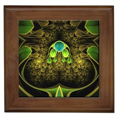 Beautiful Gold And Green Fractal Peacock Feathers Framed Tiles by jayaprime