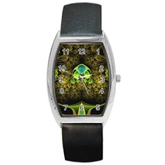 Beautiful Gold And Green Fractal Peacock Feathers Barrel Style Metal Watch by jayaprime