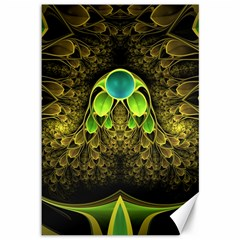 Beautiful Gold And Green Fractal Peacock Feathers Canvas 12  X 18   by jayaprime
