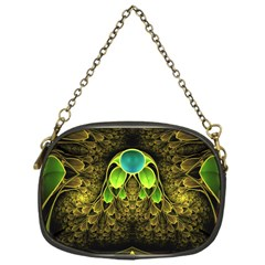 Beautiful Gold And Green Fractal Peacock Feathers Chain Purses (one Side)