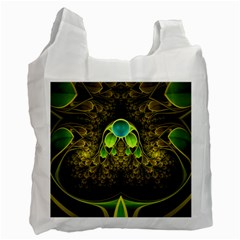Beautiful Gold And Green Fractal Peacock Feathers Recycle Bag (one Side) by jayaprime