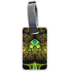 Beautiful Gold And Green Fractal Peacock Feathers Luggage Tags (one Side)  by jayaprime