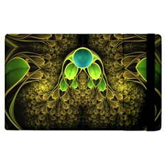Beautiful Gold And Green Fractal Peacock Feathers Apple Ipad 2 Flip Case by jayaprime