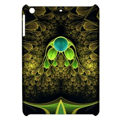 Beautiful Gold And Green Fractal Peacock Feathers Apple Ipad Mini Hardshell Case by jayaprime