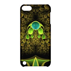 Beautiful Gold And Green Fractal Peacock Feathers Apple Ipod Touch 5 Hardshell Case With Stand by jayaprime