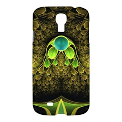 Beautiful Gold And Green Fractal Peacock Feathers Samsung Galaxy S4 I9500/i9505 Hardshell Case by jayaprime