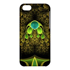 Beautiful Gold And Green Fractal Peacock Feathers Apple Iphone 5c Hardshell Case by jayaprime