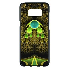 Beautiful Gold And Green Fractal Peacock Feathers Samsung Galaxy S8 Plus Black Seamless Case