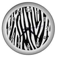 Skin4 Black Marble & White Linen Wall Clocks (silver)  by trendistuff