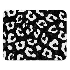 Skin5 Black Marble & White Linen Double Sided Flano Blanket (large)  by trendistuff