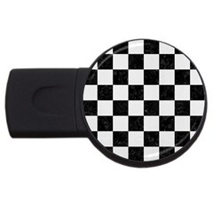 Square1 Black Marble & White Linen Usb Flash Drive Round (4 Gb) by trendistuff
