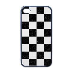 Square1 Black Marble & White Linen Apple Iphone 4 Case (black) by trendistuff