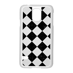 Square2 Black Marble & White Linen Samsung Galaxy S5 Case (white) by trendistuff