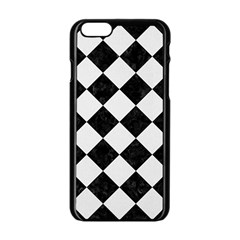 Square2 Black Marble & White Linen Apple Iphone 6/6s Black Enamel Case by trendistuff