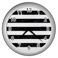 Stripes2 Black Marble & White Linen Wall Clocks (silver)  by trendistuff