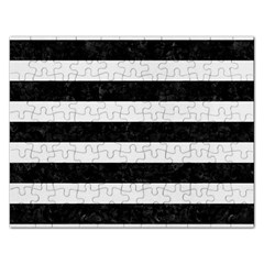 Stripes2 Black Marble & White Linen Rectangular Jigsaw Puzzl by trendistuff