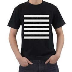 Stripes2 Black Marble & White Linen Men s T Shirt (black) (two Sided)