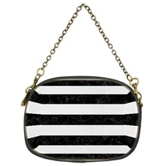 Stripes2 Black Marble & White Linen Chain Purses (two Sides)  by trendistuff