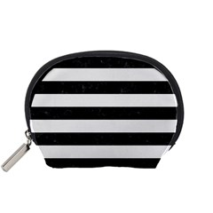 Stripes2 Black Marble & White Linen Accessory Pouches (small)  by trendistuff