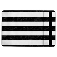 Stripes2 Black Marble & White Linen Ipad Air Flip by trendistuff