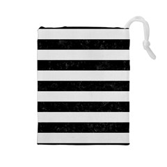 Stripes2 Black Marble & White Linen Drawstring Pouches (large)  by trendistuff