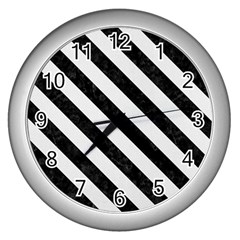 Stripes3 Black Marble & White Linen Wall Clocks (silver)  by trendistuff
