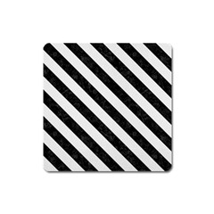 Stripes3 Black Marble & White Linen Square Magnet by trendistuff