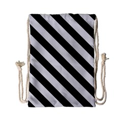 Stripes3 Black Marble & White Linen Drawstring Bag (small) by trendistuff