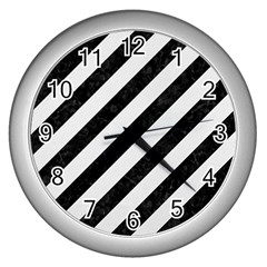 Stripes3 Black Marble & White Linen (r) Wall Clocks (silver)  by trendistuff