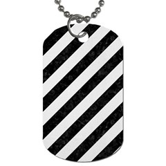 Stripes3 Black Marble & White Linen (r) Dog Tag (two Sides)
