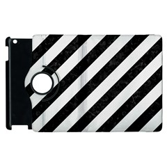 Stripes3 Black Marble & White Linen (r) Apple Ipad 3/4 Flip 360 Case by trendistuff