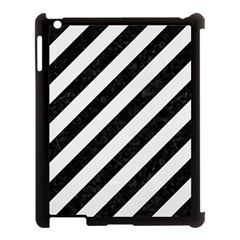 Stripes3 Black Marble & White Linen (r) Apple Ipad 3/4 Case (black) by trendistuff