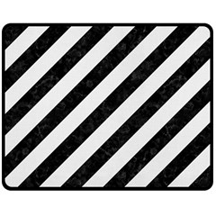 Stripes3 Black Marble & White Linen (r) Double Sided Fleece Blanket (medium)  by trendistuff