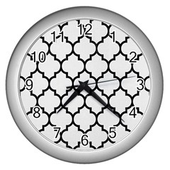 Tile1 Black Marble & White Linen Wall Clocks (silver)  by trendistuff