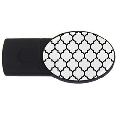 Tile1 Black Marble & White Linen Usb Flash Drive Oval (4 Gb) by trendistuff