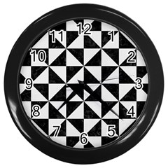 Triangle1 Black Marble & White Linen Wall Clocks (black) by trendistuff