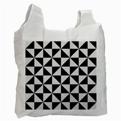 Triangle1 Black Marble & White Linen Recycle Bag (two Side)  by trendistuff