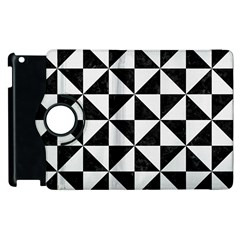 Triangle1 Black Marble & White Linen Apple Ipad 3/4 Flip 360 Case by trendistuff