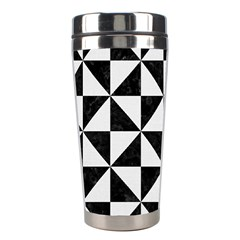 Triangle1 Black Marble & White Linen Stainless Steel Travel Tumblers by trendistuff