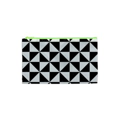 Triangle1 Black Marble & White Linen Cosmetic Bag (xs) by trendistuff