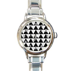 Triangle2 Black Marble & White Linen Round Italian Charm Watch by trendistuff