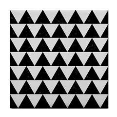 TRIANGLE2 BLACK MARBLE & WHITE LINEN Tile Coasters