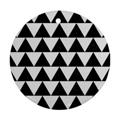 Triangle2 Black Marble & White Linen Ornament (round) by trendistuff