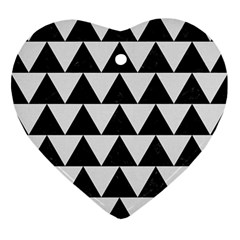 Triangle2 Black Marble & White Linen Ornament (heart) by trendistuff