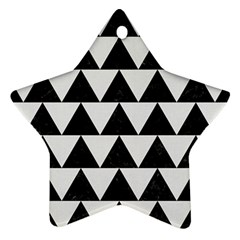 Triangle2 Black Marble & White Linen Ornament (star) by trendistuff