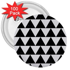 Triangle2 Black Marble & White Linen 3  Buttons (100 Pack)  by trendistuff