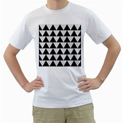Triangle2 Black Marble & White Linen Men s T Shirt (white) (two Sided) by trendistuff